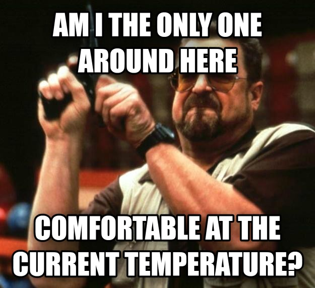 My office has a constant battle of the thermostat. It's either the arctic or hell.